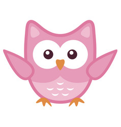 owl stylized art icon in pink colors vector image