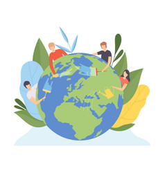 people cleaning earth planet and watering vector image