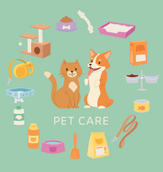 Pet care set for petshop contains toys collar vector