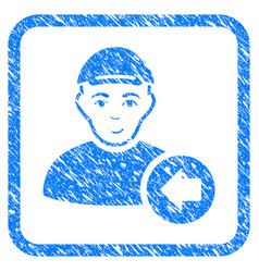 Previous man framed stamp vector