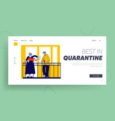 Quarantine self isolation landing page template vector