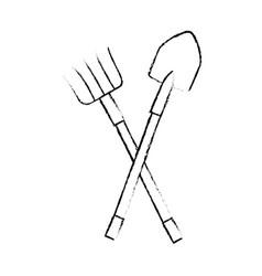 Rake and shovel gardening tools vector