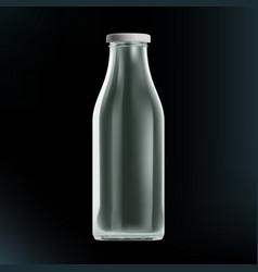 realistic transparent clear empty milk bottle vector image