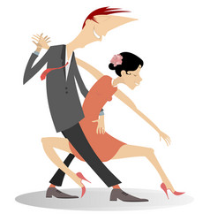 romantic dancing young couple isolated vector image