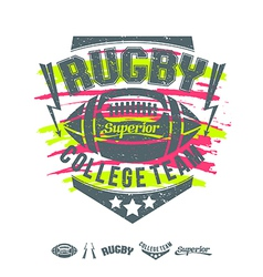 Rugby emblem girls print and design elements vector image