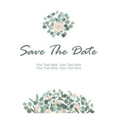 save the date card with white rose flowers and vector image