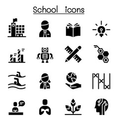 School learning education icon set vector