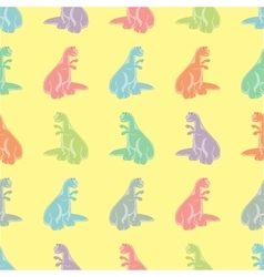 Seamless background Funny colored tyrannosaurs vector image
