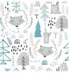 Seamless woodland pattern with wolf heads vector