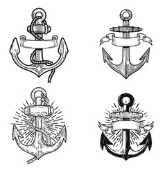 set emblems with anchors design element vector image