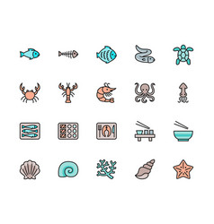 set fish and seafood color line icons flounder vector image