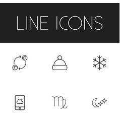 set of 6 editable climate icons line style vector image