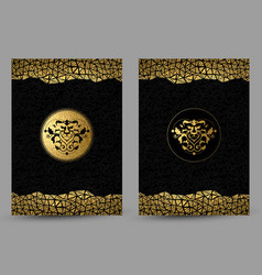 Set of banners with stylized golden and black lion vector