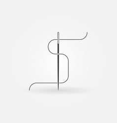 Sewing needle concept icon vector