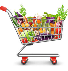 Shopping Basket Of Fresh Fruits And Vegetables vector image