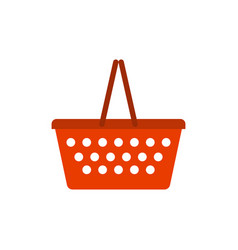shopping basket red empty isolated on white vector image