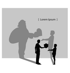 silhouette man giving boy a gift box with the vector image