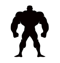 silhouette of cartoon bodybuilder isolated vector image