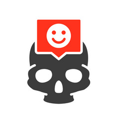 skull with happy face in speech bubble colored vector image