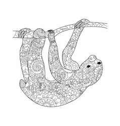 Sloth on a branch Coloring book for adults vector image