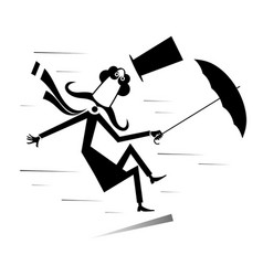 strong wind mustache man with umbrella vector image