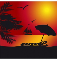 sunset at the seaside vector image
