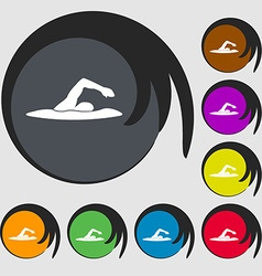 swimmer icon Symbols on eight colored buttons vector image