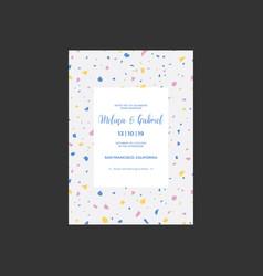Terrazzo wedding invitation card vector