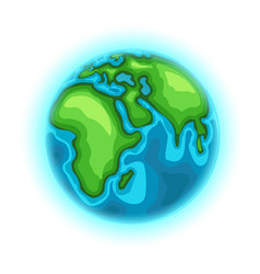 the earth cartoon style isolated on white vector image