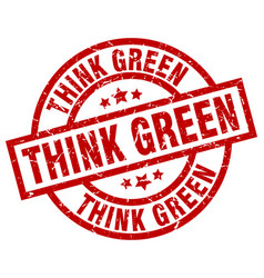 think green round red grunge stamp vector image