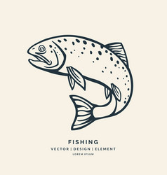 Trout fish jumping out of the water vector