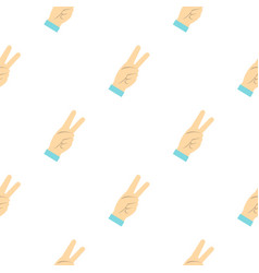 Two fingers raised up gesture pattern seamless vector