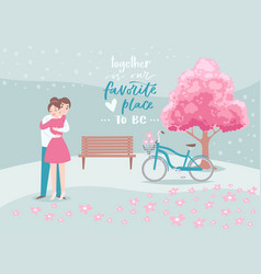 valentine s day romantic beloved couple hugs vector image