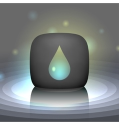 White shining drop icon vector image