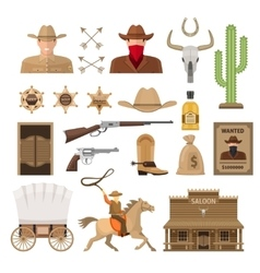 Wild west decorative elements set vector