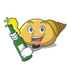 With beer mollusk shell mascot cartoon vector