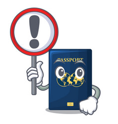 with sign blue passport in the cartoon form vector image