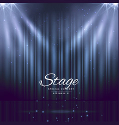 blue stage background with closed curtains vector image vector image