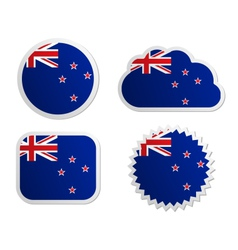 New Zealand flag labels vector image vector image