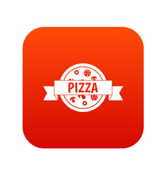 pizza label with ribbon icon digital red vector image vector image