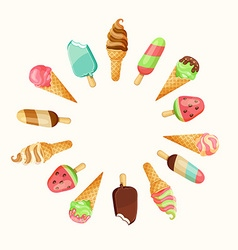 Set of tasty ice cream vector image