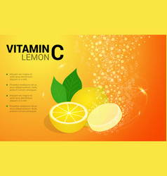 vitamin c lemon soluble pills with lemon flavour vector image vector image