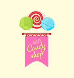 candy shop or store logo label or badge design vector image