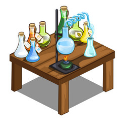 chemical flasks on table magic potions concept vector image