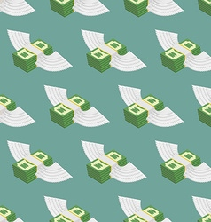 Dollars Cash with wings seamless pattern vector image vector image