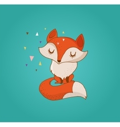 Fox cute lovely and greetin card vector image vector image