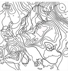 Map showing earth temperature flow vector image vector image