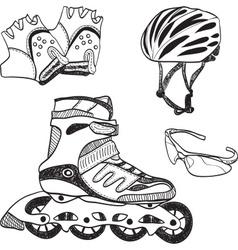 Roller skating equipment vector image vector image