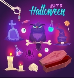 Spooky Halloween objects vector image vector image