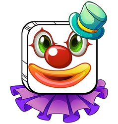 A square-shaped face of a clown with a violet vector image vector image